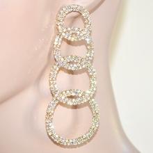 Orecchini donna oro dorati pendenti cerchi strass\cristalli eleganti cerimonia 64
