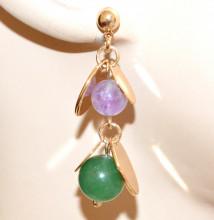 ORECCHINI donna ORO dorato pietre perle lilla glicine viola verde ciondoli pendientes GP10