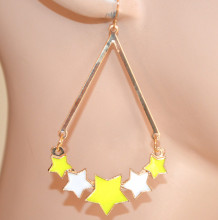 ORECCHINI donna ORO GIALLI BIANCHI pendenti stelle ciondoli dorati ragazza moda CC223