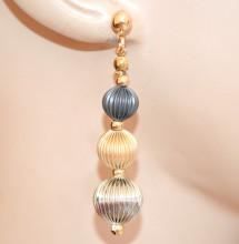 ORECCHINI donna oro grigio argento platino dorati sfere eleganti cerimonia N28