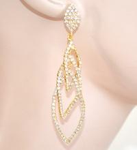ORECCHINI donna ORO strass pendenti cristalli eleganti cerimonia E100