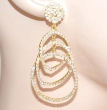ORECCHINI ORO cerchi pendenti donna cristalli  strass  cerimonia earrings E110