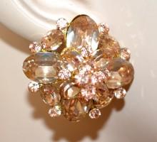 ORECCHINI ORO donna a lobo cristalli ambra strass bottone cerimonia boucles BB12