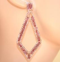 ORECCHINI ORO donna rombi strass cristalli ROSA  eleganti cerimonia  damigella E150