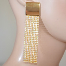 ORECCHINI ORO donna STRASS fili lunghi pendenti dorati cristalli cerimonia gold earrings D2