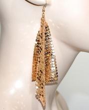 ORECCHINI oro dorati donna pendenti lunghi nido d'ape metallo lucido elegante G5