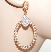 ORECCHINI ORO dorati strass donna pendenti ovali cristalli brillanti golden earrings CC76