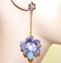 ORECCHINI ORO fiore VIOLA LILLA GLICINE pietre ametista donna pendenti lunghi ciondolo strass G56