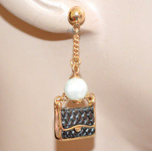 ORECCHINI ORO perla donna CIONDOLI charms borsa e scarpetta nera pendagli pendenti N48