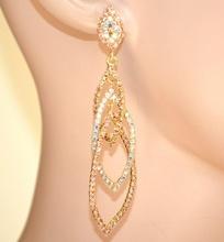 ORECCHINI ORO ROSA AMBRA donna strass lunghi pendenti cristalli eleganti E100