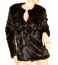 PELLICCIA NERA donna giacca ecologica cappotto corto giaccone giubbino elegante G85