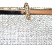 POCHETTE ARGENTO borsello strass donna clutch bag cristalli borsetta da sera sac G58
