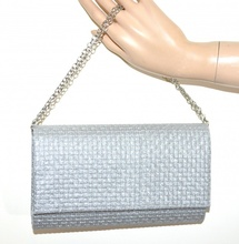 POCHETTE ARGENTO donna borsello brillantini borsa elegante clutch bag sac G14