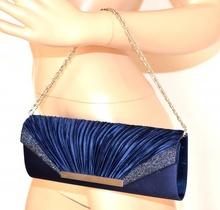 POCHETTE BLU borsello donna elegante borsa da sera borsetta raso cerimonia sac E75