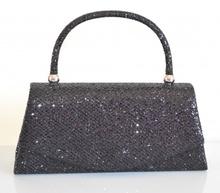 POCHETTE donna NERA elegante borsello brillantini borsetta clutch borsa Z12