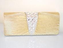 POCHETTE donna ORO borsello CRISTALLI elegante X cerimonia clutch STRASS borsa brillante 75