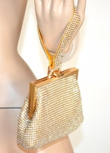 POCHETTE donna ORO elegante borsello CRISTALLI dorata CLUTCH BAG da cerimonia STRASS sac 1300