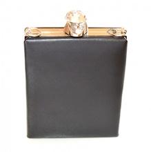 POCHETTE NERA ARGENTO borsello borsa donna elegante borsetta cristallo clutch F10
