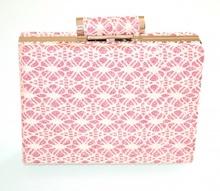 POCHETTE ROSA ORO donna pizzo ricamato clutch borsello borsa brillantini elegante E93
