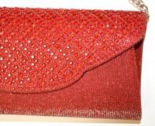 POCHETTE ROSSA donna  strass cristalli borsello borsa borsetta clutch bag shimmer G56