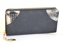 PORTAFOGLIO donna NERO ORO borsello portamonete borsellino clutch bag idea regalo A16