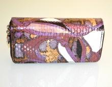 PORTAFOGLIO donna viola lilla prugna beige bronzo borsello vernice lucida G78