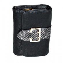PORTAFOGLIO NERO donna fibbia oro borsello a mano portamonete eco pelle clutch G1