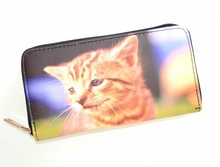 PORTAFOGLIO NERO gattino borsello donna portamonete borsellino idea regalo F45