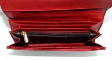 PORTAFOGLIO ROSSO donna portamonete borsello a mano eco pelle vernice clutch G3