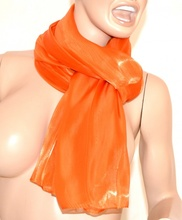 SCIARPA ARANCIO donna MAXI foulard pashmina sciarpetta metallizzata tinta unita bufanda scarf 15