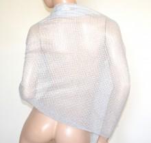 STOLA ARGENTO maxi foulard donna coprispalle lurex brillantinato scialle elegante abito B3