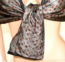 STOLA ARGENTO POIS donna coprispalle seta da cerimonia foulard tulle elegante abito da sera 950