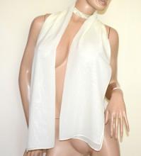 STOLA AVORIO foulard 40% seta donna coprispalle velato sciarpa zijden sjaal G50