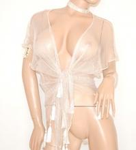 STOLA COPRISPALLE donna sexy BIANCO rete elegante da cerimonia abito da sera 85X