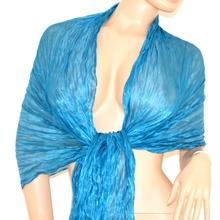Stola coprispalle foulard maxi donna cerimonia sciarpa da sera x vestito elegante seta azzurro tinta unita  115G