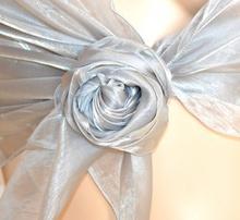 STOLA donna ARGENTO da CERIMONIA foulard MAXI coprispalle elegante x abito\vestito metallizzata F5