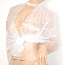 STOLA donna coprispalle BIANCO foulard SPOSA elegante da cerimonia effetto metallizzato 1X