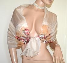 STOLA  donna foulard BEIGE coprispalle velato fantasia floreale rose elegante A54