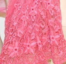 STOLA donna ROSA FUCSIA coprispalle 50% SETA scialle foulard ricamato étole sjal A30