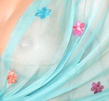 STOLA donna VERDE acquamarina foulard damigella scialle elegante coprispalle seta velata da cerimonia F30