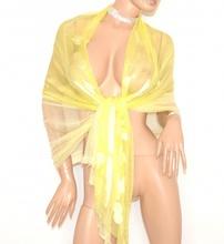 STOLA foulard  GIALLA  coprispalle  donna 30% seta velata maxi  cerimonia sciarpa  elegante E100