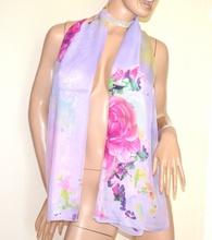 STOLA LILLA GLICINE VIOLA donna foulard coprispalle fantasia floreale fiori A56