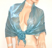 STOLA MAXI donna foulard VERDE AZZURRO cerimonia coprispalle raso abito elegante F5