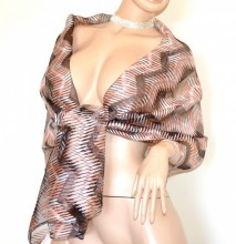 STOLA NERA ROSA CORALLO maxi foulard 20%SETA donna coprispalle scialle velato trasparente sciarpa G60