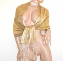STOLA ORO donna maxi scialle coprispalle dorato frange foulard metallizzato cerimonia scarff G85