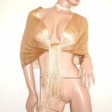 STOLA RETE donna ORO dorato filo maxi foulard coprispalle scialle frange cerimonia elegante scarf G68