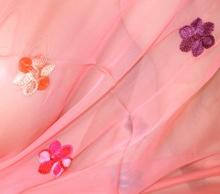 STOLA ROSA CORALLO donna foulard scialle coprispalle seta velata cerimonia damigella F30