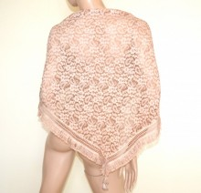 STOLA scialle rosa coprispalle maxi foulard donna pizzo ricamato a punta triangolo frange G70