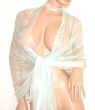 STOLA VERDE donna coprispalle 30% seta foulard elegante per abito cerimonia E100