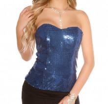 TOP BUSTINO BLU donna corsetto paillettes maglietta canotta party cerimonia AZ53